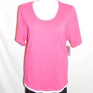 2X Catherines Pink White Trim Stretch Knit Top NWT